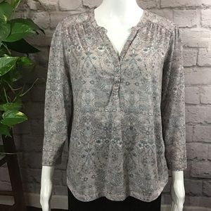 H&M dusty pink & white floral medium blouse top